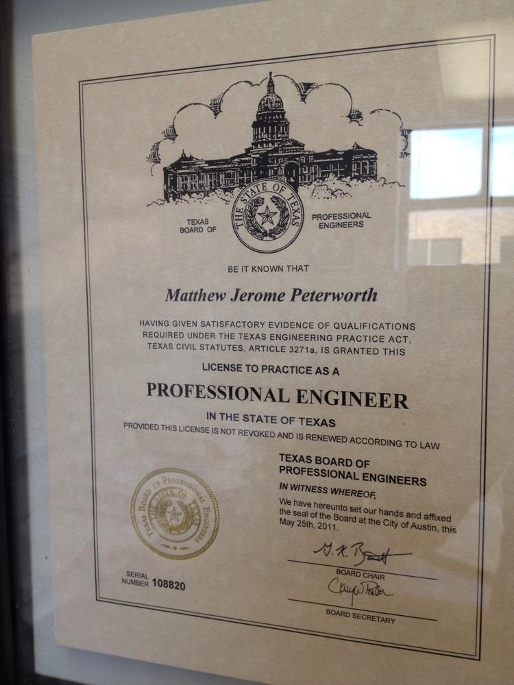Texas Engineer Number 108820 Matt Peterworths Professional Blog